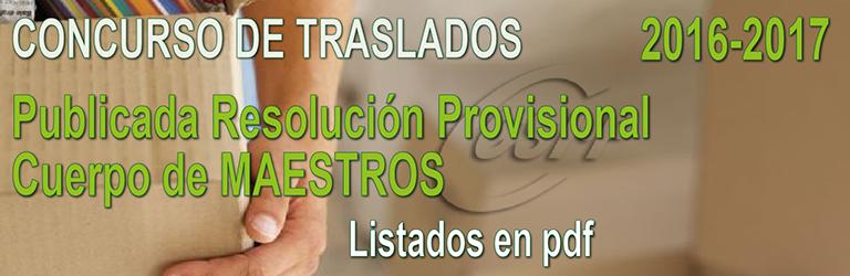 Publicada la Resolución PROVISIONAL del Concurso de Traslados del CUERPO DE MAESTROS