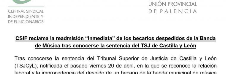 CSIF reclama la readmision inmediata de los becarios de la Banda de Música de Palencia