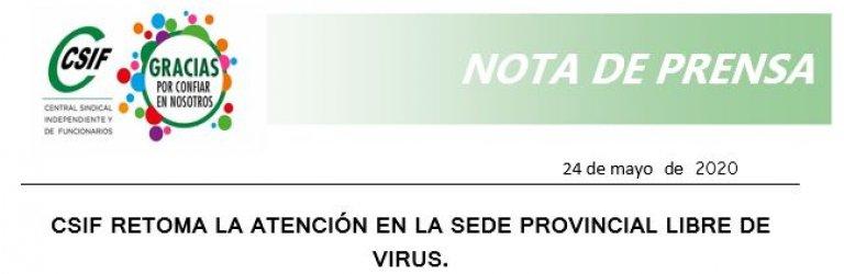 CSIF retoma la atención en la Sede Provincial libre de virus