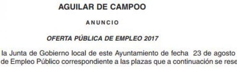 Oferta de Empleo Público Aguilar de Campoo 2017