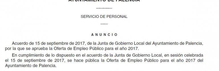 Oferta Pública de Empleo del Ayuntamiento de Palencia año 2017