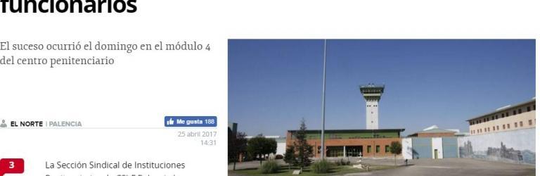 Presos de Dueñas amenazan de muerte a los funcionarios (Norte de Castilla)