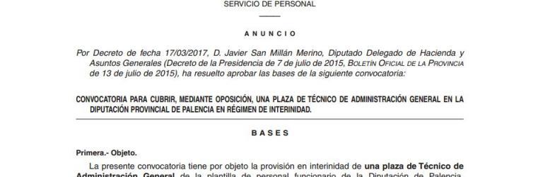 Convocatoria TAG interino en la Diputación de Palencia