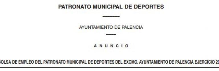 Bolsa de trabajo del Patronato Municipal de Deportes de Palencia