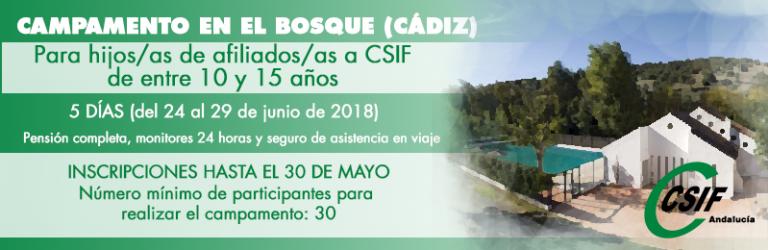 Campamento de verano en El Bosque (Cádiz) para hijos/as de afiliados/as a CSIF