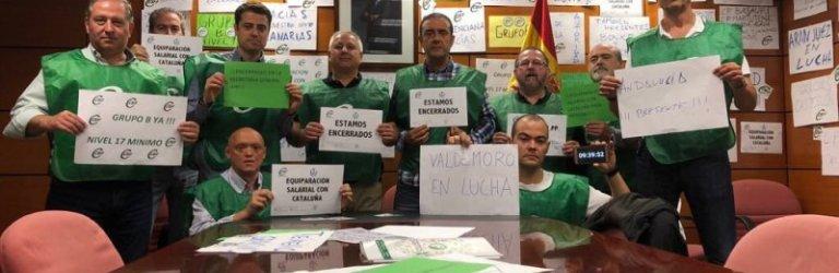 Delegados de CSIF cumplen una semana de encierro en la sede de Instituciones Penitenciarias para reclamar una mejora salarial